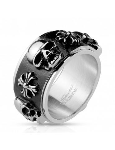 Pánsky prsteň s lebkami a...